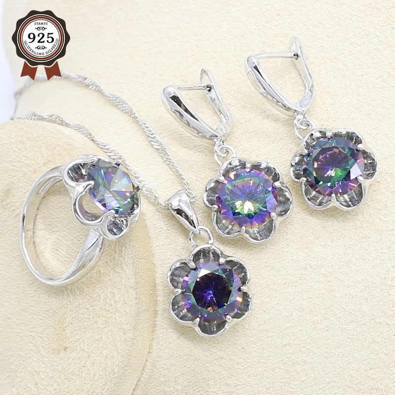 레인보우 지르콘 실버 컬러 쥬얼리 여성용 세트 팔찌 귀걸이 목걸이 펜던트 반지 생일 선물