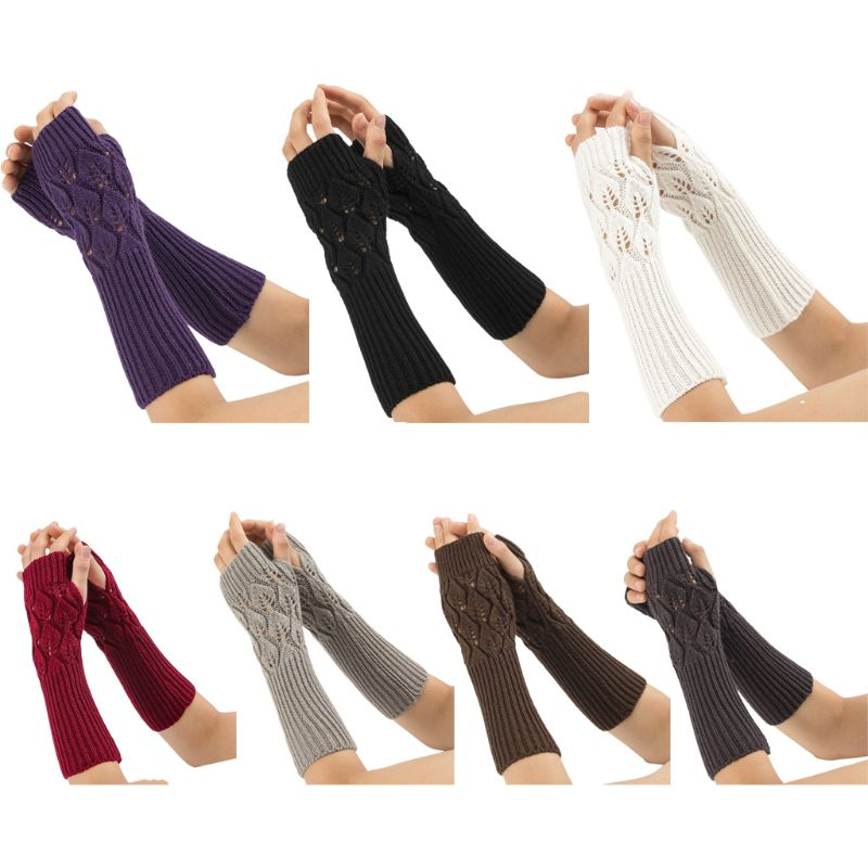 Womens Girls Winter Knitted Jacquard Fingerless Gloves Hollow Out Leaves Long Arm Warmers Solid Color Mittens With Thumb Hole