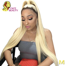 Facebeauty 1B 613 Half Wig 150 Density Pre Plucked Peruvian Remy Ombre Blonde Lace Front Straight Human Hair Wigs with Baby Hair
