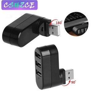 180 degrés Mini USB 2.0 Hub 3 Ports haute vitesse Hub USB séparateur câble adaptateur pour PC ordinateur portable séparateur ladron puertos usb