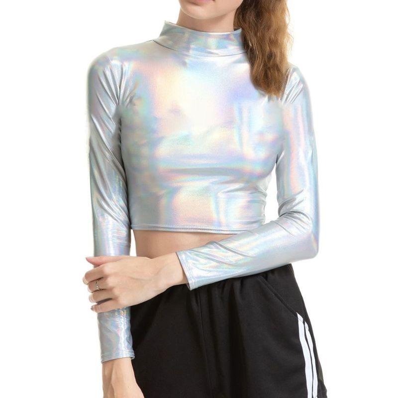 Women Long Sleeve Liquid Metallic Crop Top Mock Neck Turtleneck Wetlook Clubwear AXYD