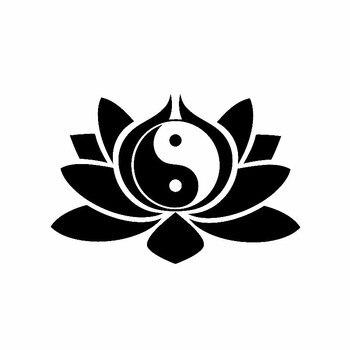 цена на DAWASARU Vinyl Decal Lotus Flower Yin Yang Symbol Buddhism Yoga Car Stickers Creative Fashion Car Sticker Black/Silver 9CM*14CM