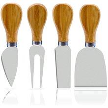 Набор из 4 ножей для сыра с деревянной ручкой бамбука нержавеющая