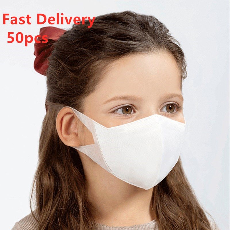 50Pcs Disposable 3 Layer Anti-dust Masks For Kids Adult Combinaison Virus Respirator PM2.5 Gas Mask Masque Virus Covid 19 Test