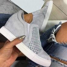 النساء أحذية أسافين أحذية رياضية الربيع الجوف خارج تنفس 2021 جديد المرأة أحذية مفلكنة منصة الصلبة الإناث حذاء كاجوال