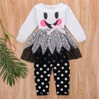 Christmas Kids Baby Girls Snowman Long Sleeve Dress Tops + Pants Outfit Clothes 2PCS