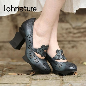 Johnature Spring Summer 2020 New High Heels Sandals Women Shoes Genuine Leather Retro Shallow Casual Handmade Ladies Sandals