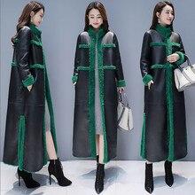 Femmes manteau de fourrure dagneau nouveau hiver grande taille en vrac longue fourrure Trench deux côtés portant daim Maix fourrure veste Faux cuir fourrure manteau