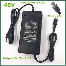 48 فولت ليثيوم أيون شاحن الناتج 54.6V3A ل دراجة كهربائية بطارية ليثيوم حزمة مع موصل سدادة RCA