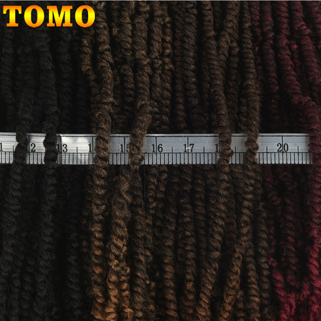 TOMO Passion Twist Crochet Hair 18 Inch Pre-looped Synthetic Crochet Braids Hair Extensions Ombre Braiding Hair Black Brown Red 4