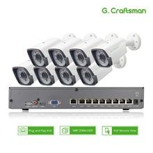 8ch 5MP POE ערכת H.265 מערכת אבטחת CCTV חכם NVR חיצוני עמיד למים IP מצלמה מעקב מעורר וידאו P2P G. אומן
