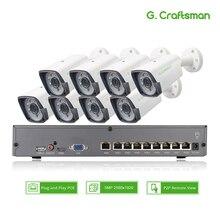 8ch 5MP POE zestaw H.265 System CCTV bezpieczeństwa inteligentny NVR zewnątrz wodoodporna kamera IP nadzoru wideo P2P G.Craftsman