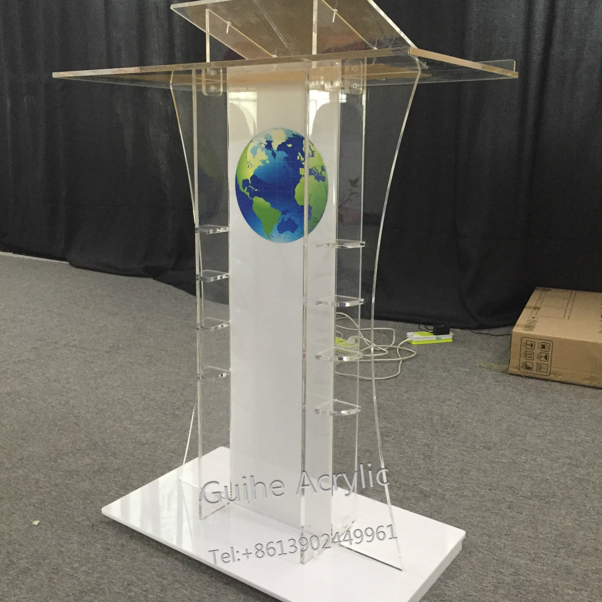 GHY- Earth Acrylic Stand Up Podium Lectern - School- Church- Business Conference