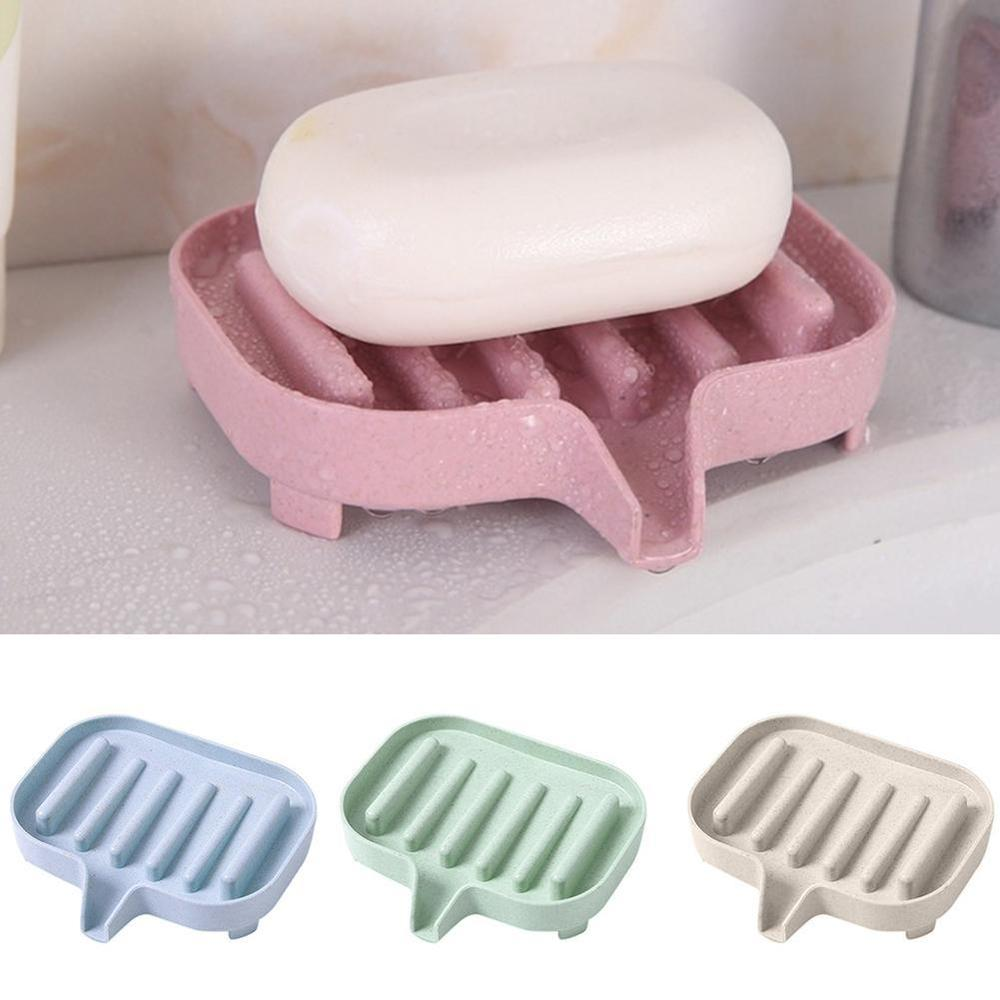 Non-metallic Portable Flexible Bathroom Soap Dish Storage Holder Rack Drain Step Soap Box Tray Drain Drainage