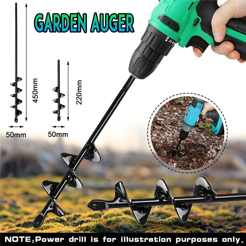 5x22/5x45cm Garden Auger Small Earth Planter Drill Bit Flower Bulb Post Hole Digger Earth Yard Bedding Planting Auger Drill Bit