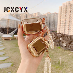 Image 2 - Gold plating pearl coin bracelet keychain chain Wireless Headset bluetooth soft case for Apple AirPods 1 2 cover for airpods pro