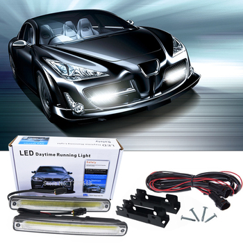 Car styling 2x 18.3cm white COB LED DRL Lamp Vehicle Car Daytime Running Light With Installation Bracket Warning Lamp цена 2017