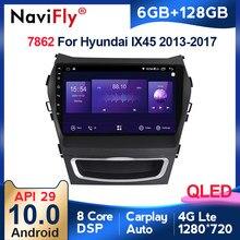 6GB + 128GB QLED 1280*720 Android 10.0 samochodowy odtwarzacz multimedialny dla Hyundai IX45 Santa Fe 3 2013 - 2016 radiowy system nawigacyjny GPS carplay
