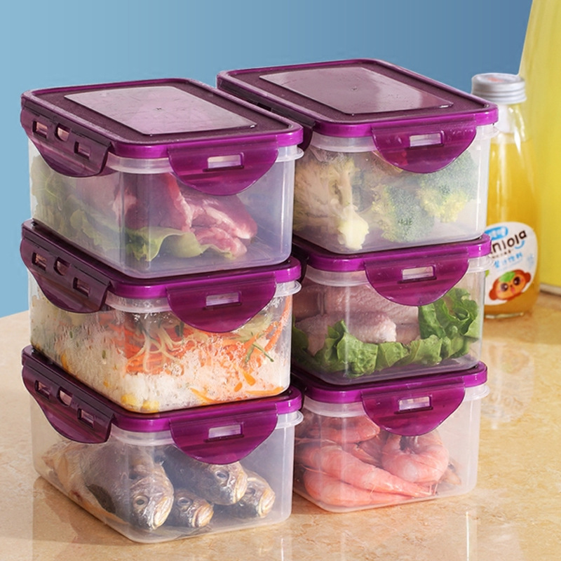 Plastic Fresh-keeping Box Suit Refrigerator Microwave Oven Storage Container Lunch Box Sealed Box Food Storage Box Heat-Resistan