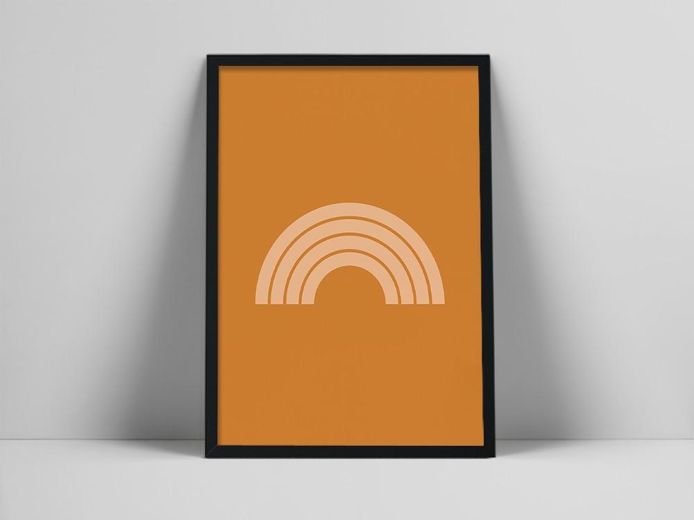 Impresión artística de arcoíris naranja | Arte de pared escandinavo | Cartel de Color naranja quemado | Impresión de pared minimalista de arcoíris rescent Moon ace as