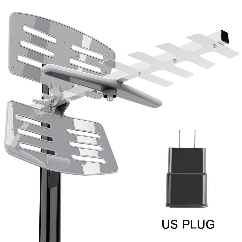 Leadzm 100Miles Outdoor TV Antenna Amplified HDTV 1080P High Gain UHF Silver
