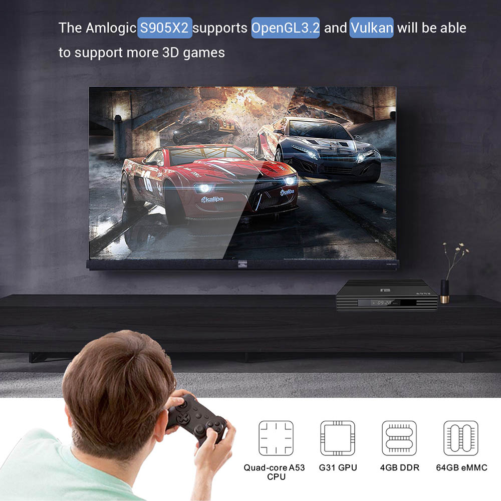 Android 9.0 Smart TV Box A95X F2 4GB 64GB Amlogic S905X2 prend en charge le double Wifi 1080p 4K 60fps Google Player Netflix Youtube Media - 3