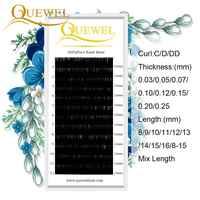Extensión de pestañas individuales 12 filas/bandeja de seda Profesional extensión de pestañas C/D/DD Curl seda visón falso las pestañas Quewel