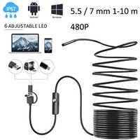 3 in 1 Smartphone Endoskop Flexible Inspektion Kamera Endoscopica 480P Endoskop mit USB/Micro USB/Typ- C für Android Telefon PC