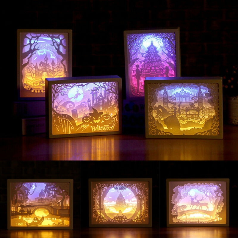 New Creative Simple 3D Paper Carving Night Light Lamp LED Gift Home Bedroom Art Christmas Halloween Carved Decor image