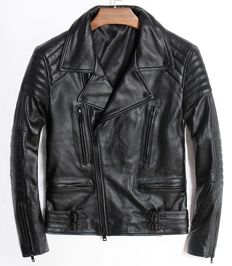 Free Shipping.Plus Size Brand Classic Cowhide Leather Jackets,fashion Men's Genuine Leather Jacket.slim Motor Biker Coat
