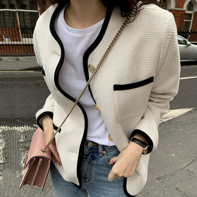 [EWQ] 2021 Autumn Casual New Female Round Neck Single Breasted Loose Panelled Short Jacket Tweed Cardigan Coat 8Y543 3
