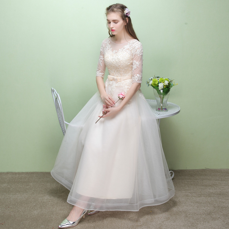 Evening Gown Women's 2019 New Style Autumn Banquet Nobility Slim Fit Was Thin Long Korean Style Sister Group Bridesmaid Dress Lo