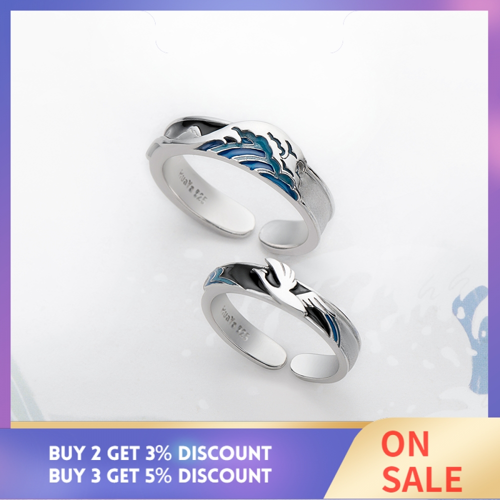 Image 2 - Thaya Flying Bird Wave Ring s925 Silver Blue Drop Oil 3D Wave Couple Rings for Women Elegant Irish Fine Jewelry Lovers'Gift-in Rings from Jewelry & Accessories
