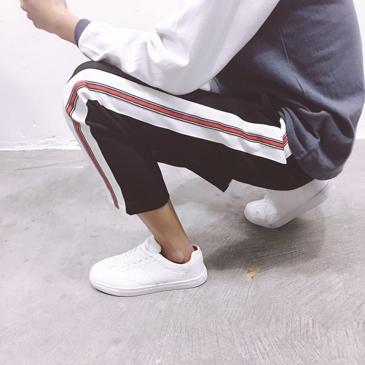 New Style Men'S Wear Spring And Summer Fashion Sports Loose-Fit Contrast Color Joint Straight-Cut Casual Trousers Students Trend