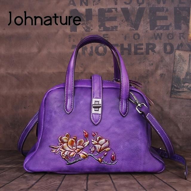 Johnature Handmade ลายนูนกระเป๋าถือหรูผู้หญิงกระเป๋า 2019 ใหม่ของแท้หนัง Hobos Retro ดอกไม้ไหล่กระเป๋า Crossbody