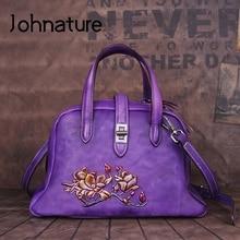 Женские сумки с тиснением Johnature, роскошные сумки ручной работы из натуральной кожи, сумки через плечо в стиле ретро с цветочным принтом, 2020