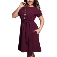 2017 Zomer Vintage 4XL 5XL 6XL Vrouwen Plus size Jurken Femme Elegante office avond party Casual O kraag Grote Grote size Jurk(China)