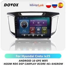 Autoradio Android, Navigation GPS, RDS, DSP, 4G, Carplay, 2 Din, DOVOX, lecteur multimédia vidéo, pour voiture Hyundai Creta IX25 (2015 – 2019)