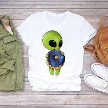 Женская винтажная модная одежда с рисунком инопланетянина летняя
