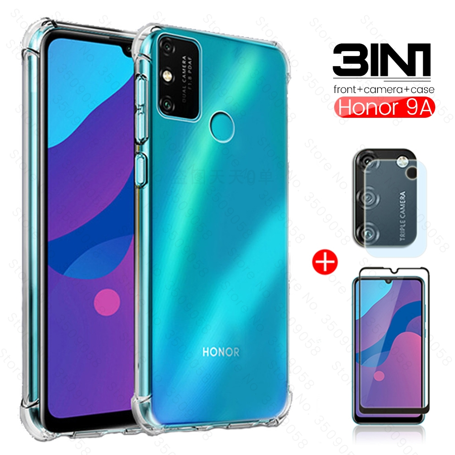 3-in-1 Honor 9a Case + Camera Lens Film+ Protective Glass For Huawei Honor 9 A 2020 A9 Moa-lx9n 6.3'' Fundas Honor9a Coque Capas