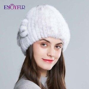 Image 5 - ENJOYFUR الطبيعي فرو منك القبعات للنساء الشتاء عالية الجودة محبوك الفراء قبعات سميكة الدافئة الروسية الإناث قبعة