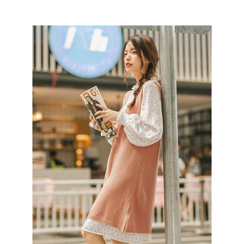 INMAN 2019 ฤดูใบไม้ร่วงใหม่ Retro Wave Point Agaric ลูกไม้ยืนขึ้นคอชุด V Neck เสื้อกันหนาวผู้หญิง 2 ชิ้น-ใน ชุดสตรี จาก เสื้อผ้าสตรี บน   3