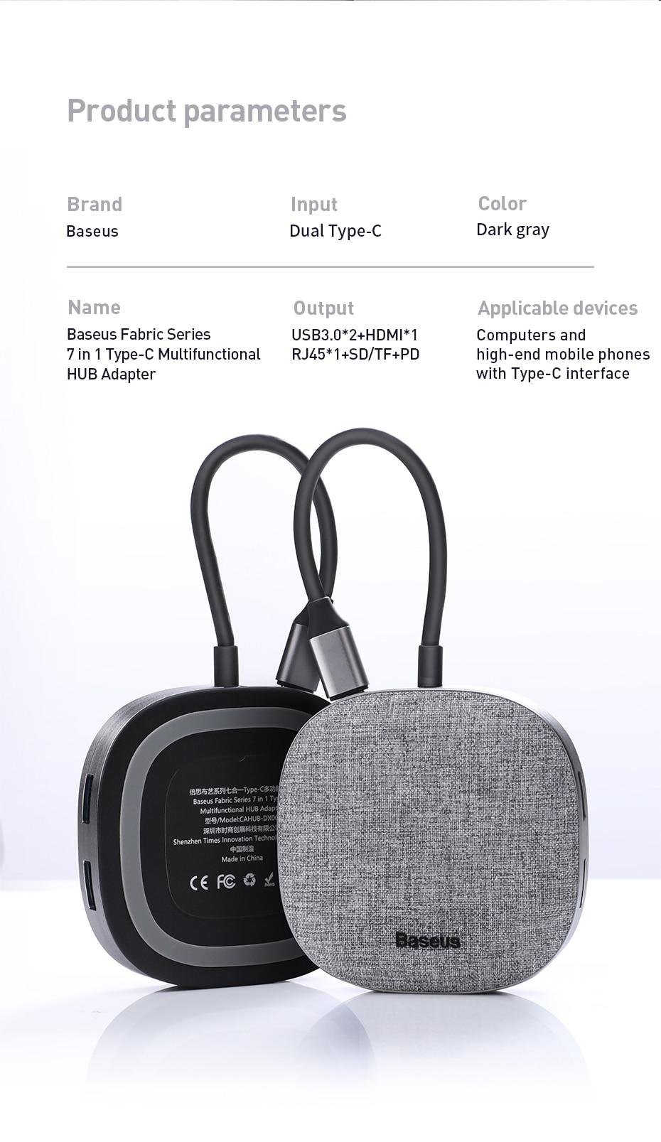 Baseus Frabric Series 7 in 1 Type-C Multifunctional HUB Adapter13