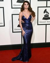 Женское вечернее платье с юбкой годе темно синее длинное v образным