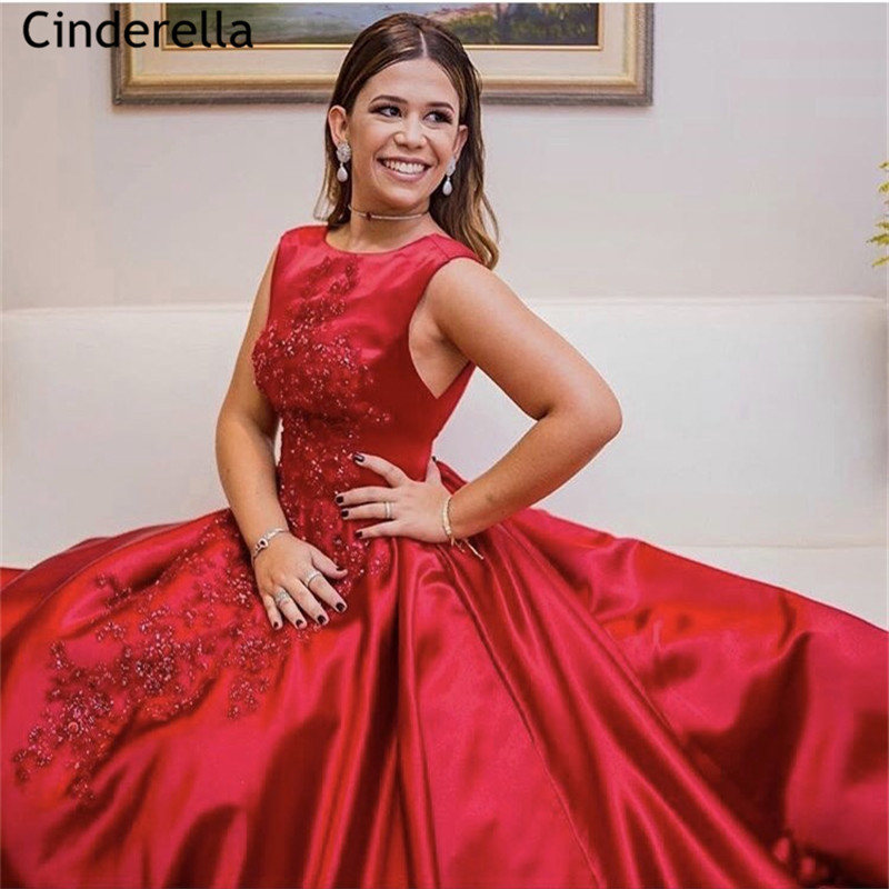 Dark Red Scoop Sleeveless A-Line Satin Pleated Lace Applique Crystal Beaded Women   Prom     Dresses   vestidos de fiesta de noche
