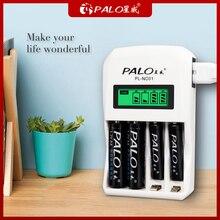 PALO 4 Khe Cắm Sạc Thông Minh Nhanh Màn Hình LCD Hiển Thị Pin Sạc 1.2V AA AAA NI MH Reachargeable Pin