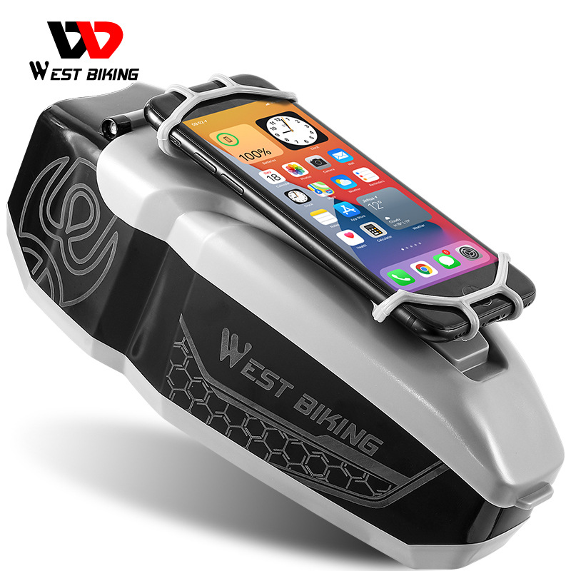 WEST BIKING Waterproof Bicycle Bag With 4-6.5 Inch Phone Holder Front Frame Top Tube MTB Bike Bag PC Shell Cycling Accessories