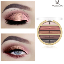 MISS ROSE 9 Color Lazy Eyeshadow Pearlescent Matte Waterproof Lasting Shine Portable Nude Makeup Eye Shadow Tray
