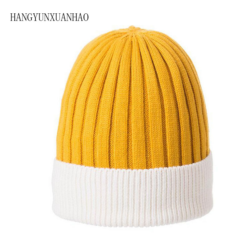 Wool Cashmere Winter Hats For Women High Quality Warm Women'S Casual Stripes Knitted Hat Female Skullies Beanie