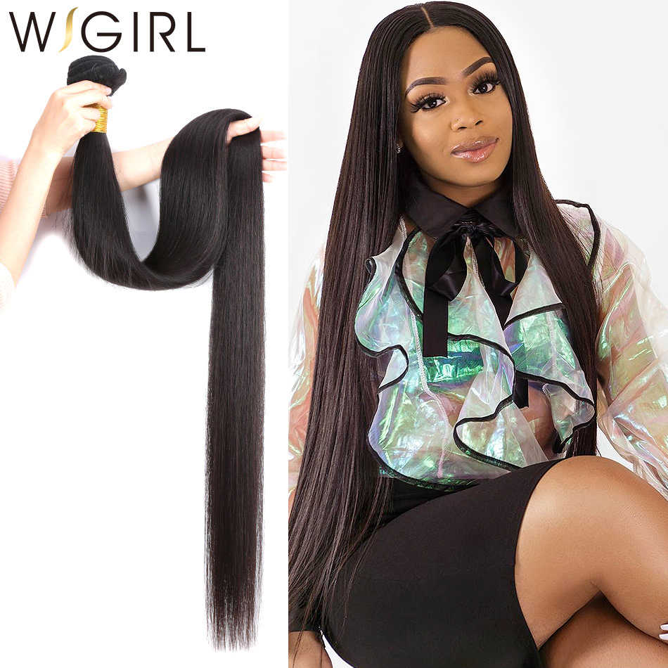 Wigirl Straight 28 30 32 40 Inch Remy Brazilian Hair Weave Bundles Natural Color 100% Human Hair Extension